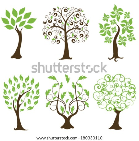 vector set of trees with green leaves - stock vector