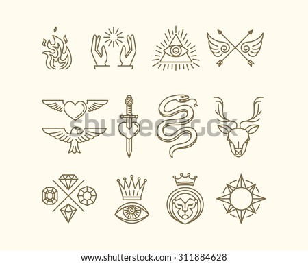 Vector set of trendy linear hipster icons and symbols - mono line tattoo graphics and design elements - stock vector