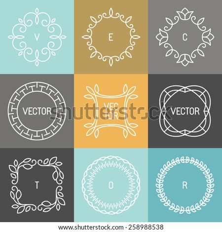 Vector set of trendy logo design elements in mono line style - hipster frames and backgrounds - stock vector