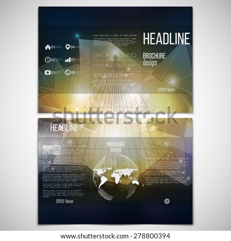 Vector set of tri-fold brochure design template on both sides with world globe element. Abstract 3D pyramid, geometric background, blue triangle style for business or science pattern vector. - stock vector