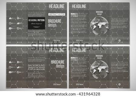 Vector set of tri-fold brochure design template on both sides with world globe element. Chemistry pattern, hexagonal design vector illustration - stock vector
