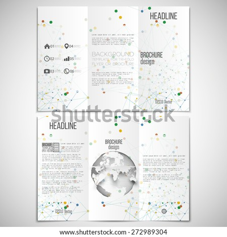 Vector set of tri-fold brochure design template on both sides with world globe element. Molecular colored structure on white background. Business or science style, vector illustration. - stock vector