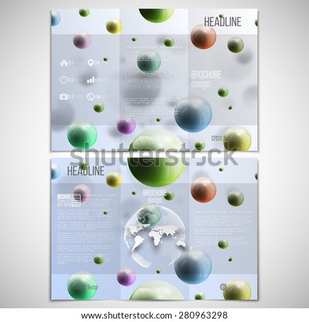 Vector set of tri-fold brochure design template on both sides with world globe element. Three dimensional glowing spheres, blue background. Abstract colorful balls. Scientific or medical patterns. - stock vector