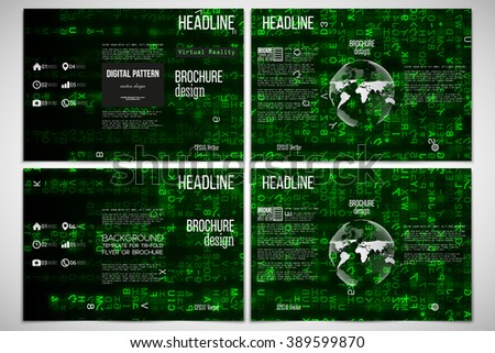 Vector set of tri-fold brochure design template on both sides with world globe element. Virtual reality, abstract technology background with green symbols, vector illustration. - stock vector