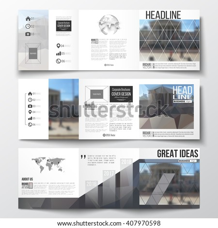 Vector set of tri-fold brochures, square design brochure templates with element of world map and globe. Abstract background, blurred image, urban landscape, modern stylish vector brochure. - stock vector