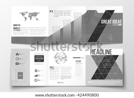 Vector set of tri-fold brochures, square design templates. Microchip background, electrical circuits, construction with connected lines, scientific or digital design pattern on gray background. - stock vector