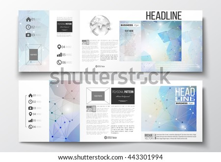Vector set of tri-fold brochures, square design templates with element of world globe. Abstract colorful polygonal background, modern stylish triangle vector texture. - stock vector