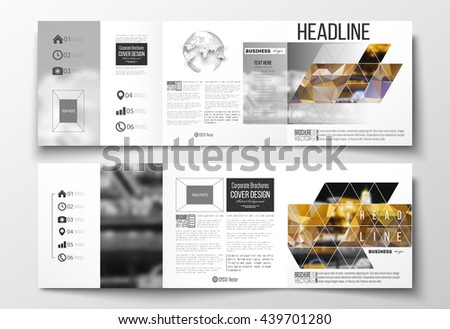 Vector set of tri-fold brochures, square design templates with element of world globe. Colorful polygonal background, blurred image, night city landscape, modern stylish triangular vector texture. - stock vector