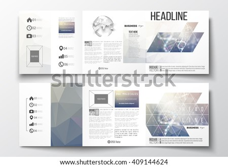 Vector set of tri-fold brochures, square design templates with element of world globe. DNA molecule structure on a blue background. Science vector background. - stock vector