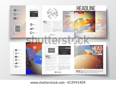 Vector set of tri-fold brochures, square design templates with element of world globe. Molecular construction with connected lines and dots, scientific pattern on colorful polygonal background. - stock vector