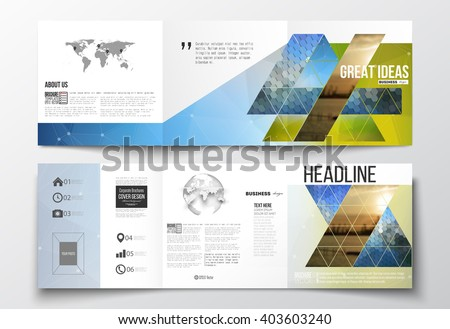 Vector set of tri-fold brochures, square design templates with element of world map and globe. Abstract colorful polygonal background with blurred image, triangular and hexagonal vector texture.