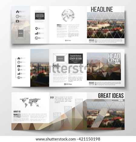 Vector set of tri-fold brochures, square design templates with element of world map and globe. Polygonal background, blurred image, urban landscape, cityscape of Prague, modern triangular texture - stock vector