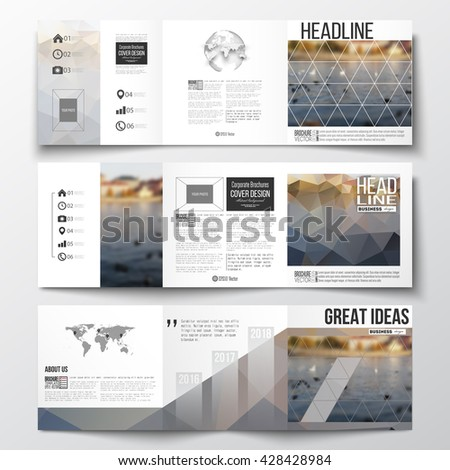 Vector set of tri-fold brochures, square design templates with element of world map and globe. Polygonal background, blurred image, urban landscape, cityscape, modern stylish triangular vector texture - stock vector