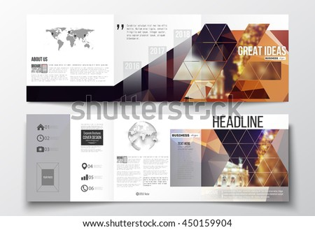Vector set of tri-fold brochures, square design templates with element of world map and globe. Colorful polygonal background, blurred image, night city landscape, festive cityscape, triangular texture - stock vector