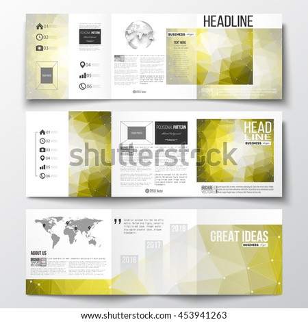 Vector set of tri-fold brochures, square design templates with element of world map and globe. Molecular construction, connected lines and dots, scientific pattern on yellow polygonal background.