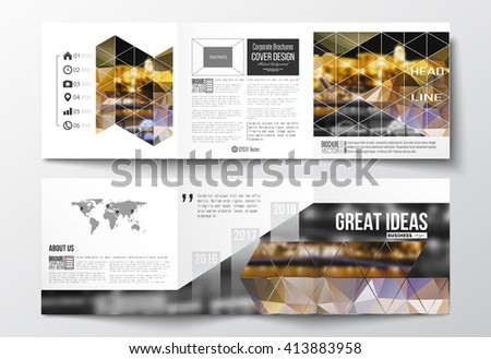 Vector set of tri-fold brochures, square design templates with element of world map. Colorful polygonal background, blurred image, night city landscape, modern stylish triangular vector texture. - stock vector