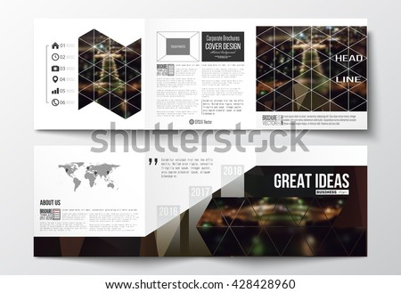 Vector set of tri-fold brochures, square design templates with element of world map. Dark polygonal background, blurred image, night city landscape, Paris cityscape, modern triangular vector texture - stock vector