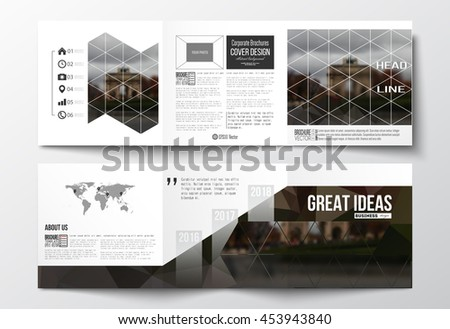 Vector set of tri-fold brochures, square design templates with element of world map. Polygonal background, blurred image, urban landscape, Paris cityscape, modern triangular vector texture - stock vector