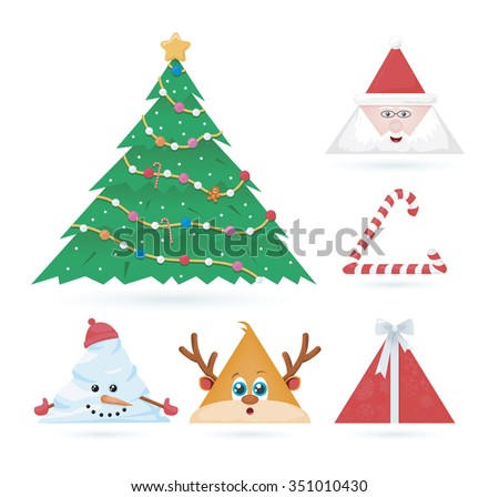 vector set of triangle christmas ornaments  - stock vector