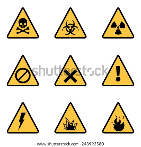 Vector Set of Triangle Yellow Warning Icons - stock vector