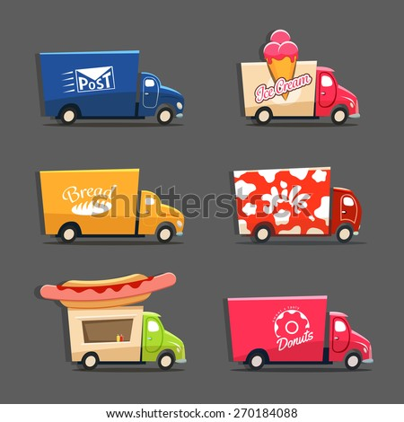 Vector set of trucks with inscriptions featuring ice cream truck, post car, milk truck, bread truck, hot dog truck and sweets and donut car - stock vector