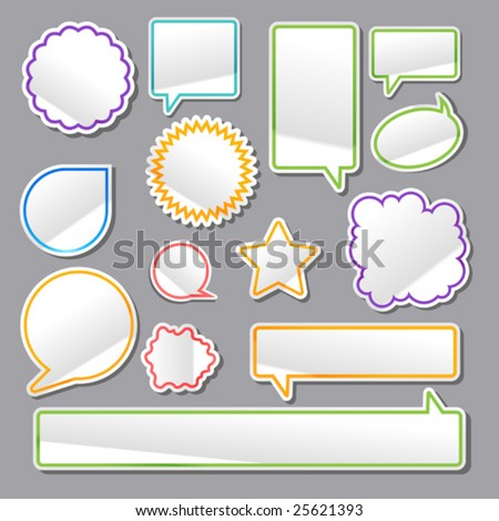 vector set of turned up stickers