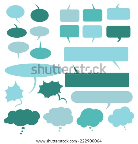 Vector Set of Turquoise Flat Comics  Bubbles. Talk and Think - stock vector