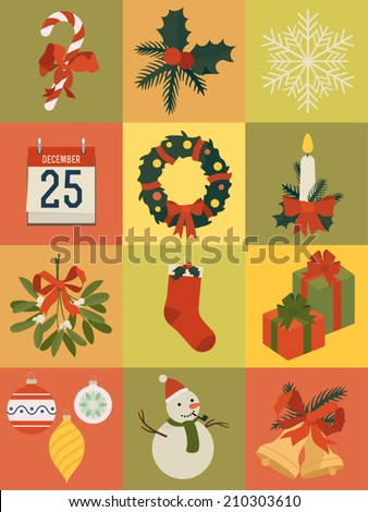Vector set of twelve christmas themed square icons   Everything for christmas design   Xmas decoration icons and such as mistletoe, stocking, gift boxes, calendar, stick candy, bells, wreath and more - stock vector