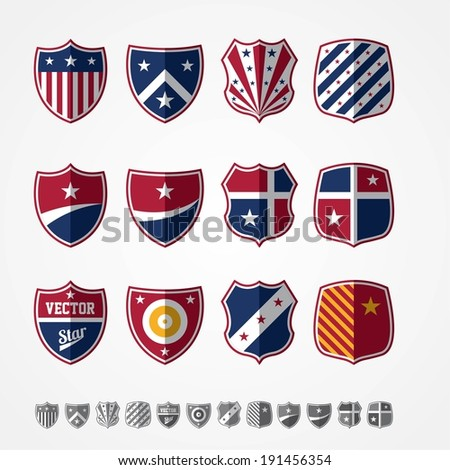 Vector set of twelve colored emblems  - stock vector