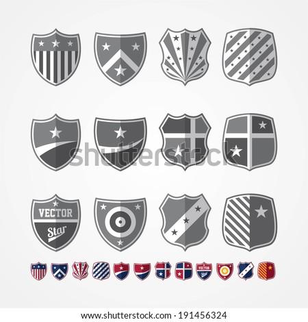 Vector set of twelve emblems  - stock vector