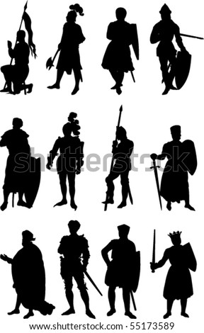 Vector Set of twelve silhouettes of Knights in various positions. - stock vector