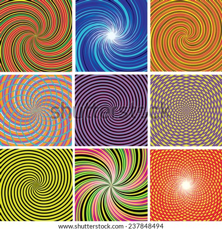 Vector set of twirl colorful backgrounds - stock vector