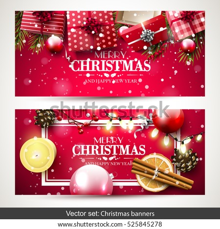 Vector set of two Christmas banners with red gift boxes, branches and baubles on red background