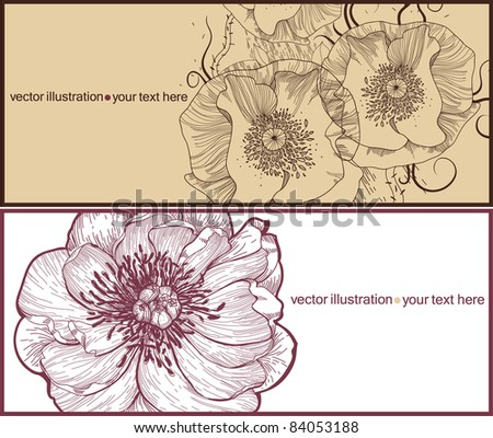 vector set of two floral cards with blooming flowers - stock vector