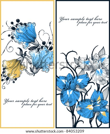 vector set of two floral cards with blooming irises and fantasy flowers - stock vector