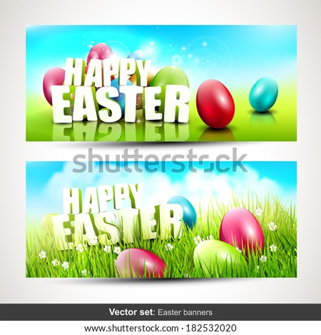 Vector set of two horizontal Easter banners - stock vector