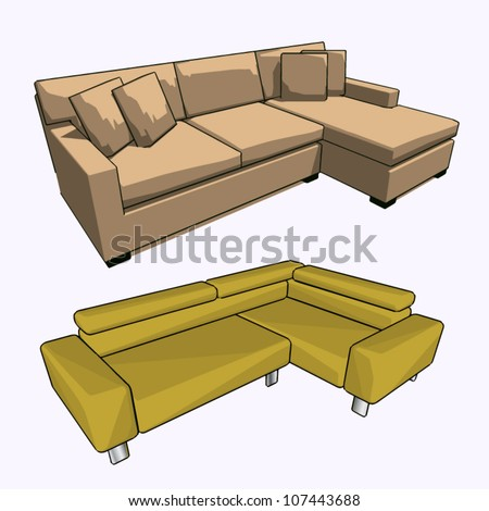 Vector set of two sofas - stock vector