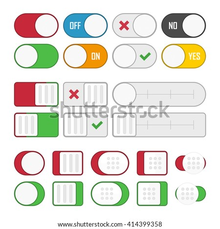Vector set of universal switches for web design and applications. Toggle switch set, On and Off sliders, vector elements. - stock vector