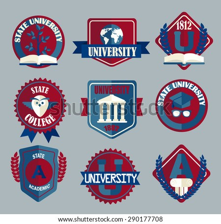 Vector set of university and college school badges in flat style. - stock vector