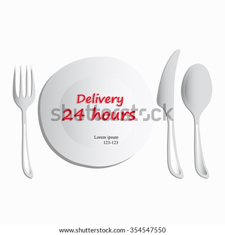 Vector, set of utensils consisting of a plate, spoon, fork, knife on a white background. Food 24 hours delivery isometric concept. Food delivery service. Freehand drawing. For restaurants, cafes  - stock vector