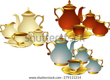 Vector set of utensils for tea or coffee. The teapot, Cup with saucer, spoon, sugar bowl and milk jug with . All items are isolated. - stock vector