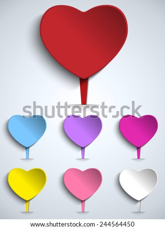Vector - Set of Valentine Day Colorful Heart Button