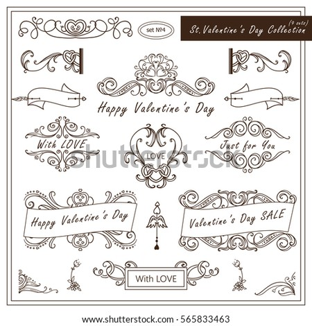 Vector set of Valentine day vintage elements for design. Ornamental frame, borders, monogram, corners, square, ribbon, arrows. Valentines day vignette. Different element in every set