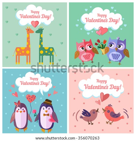 Vector set of Valentine greeting card with cute giraffe, owl, penguin and bird in flat art style.