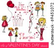 vector set of Valentine's day elements - stock vector