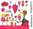 vector set of Valentine's day elements | eps 10 - stock vector