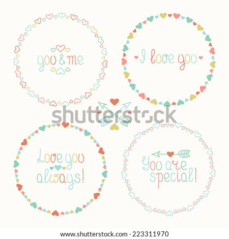 Vector set of valentine's day vintage design elements in retro colors. Hand drawn frame of pattern with hearts. Beautiful simple colorful illustration. - stock vector