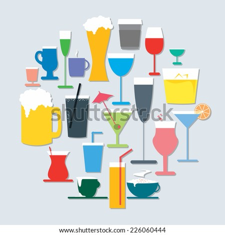 vector set of various beverage icons - stock vector