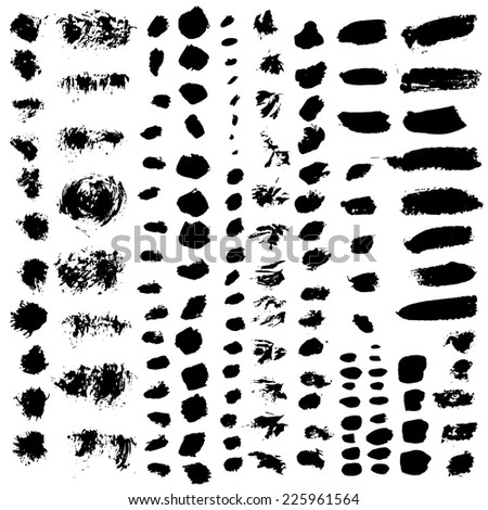 vector set of various brush strokes - stock vector