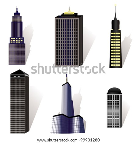 vector set of various buildings illustration - stock vector